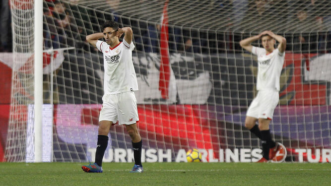 Jesus Navas se lamenta del gol del Getafe.