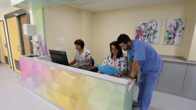 Los profesionales sanitarios en la zona de recepción de los menores