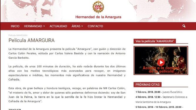 Página web de la corporación donde se explica cómo se puede ver la película online.