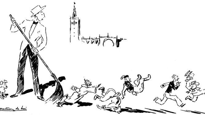 Oselito 'barre' a un falangista, un italiano, un alemán, un militar y un moro (1938).