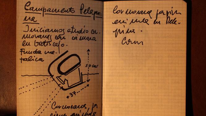 Unas páginas de uno de sus cuadernos de campo.