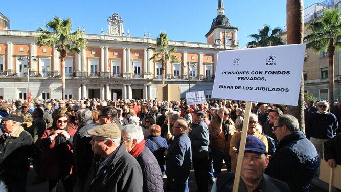 Manifestación de pensionistas celebrada recientemente en Huelva.