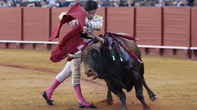 Garrido, durante el tercer toro