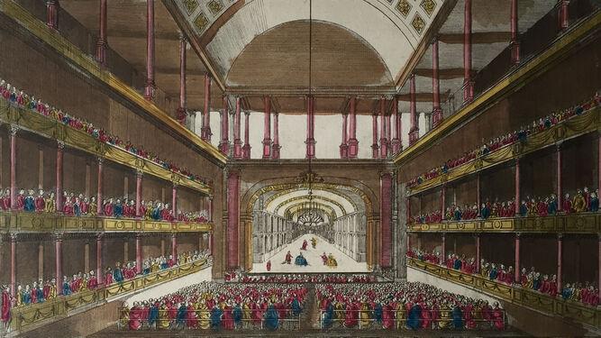 Grabado (c. 1750) del Teatro San Carlo de Nápoles, donde triunfó Manuel García.