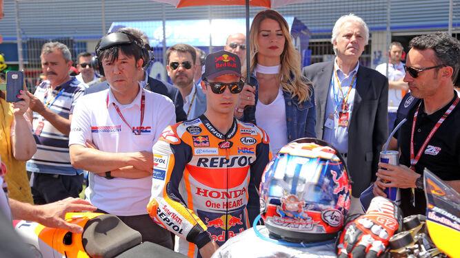 Dani Pedrosa, concentrado antes de comenzar la carrera.