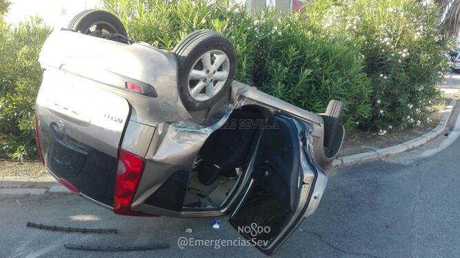 Detalle de uno de los vehículos accidentados.