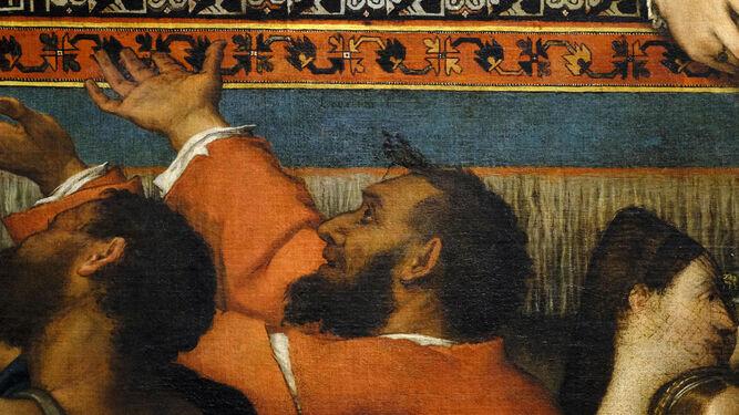 Posible autorretrato de Lotto en 'San Antonino de Florencia repartiendo limosna'