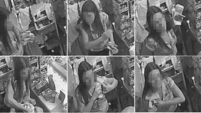 Secuencia de imágenes en la que una mujer no identificada se guarda fajos de billetes.