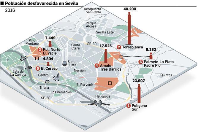 Zonas desfavorecidas en Sevilla capital. Fuente: Consejería de Igualdad y Políticas Sociales.