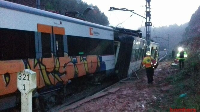El tren accidentado en Vacarisses.