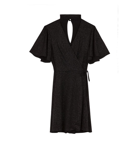 Wrap dress con mangas volante y cuello de Bershka. 25,99€