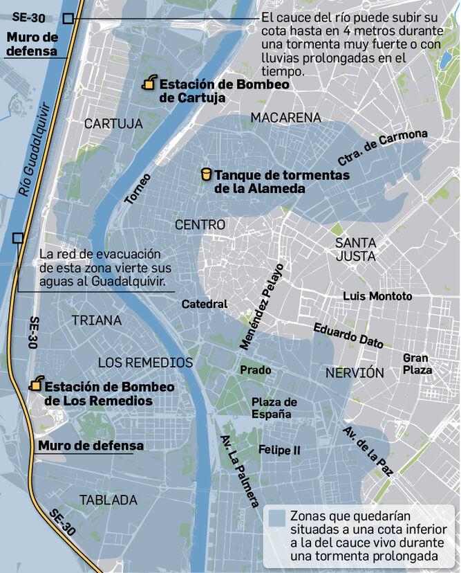 Zonas de mayor riesgo de inundación en Sevilla.