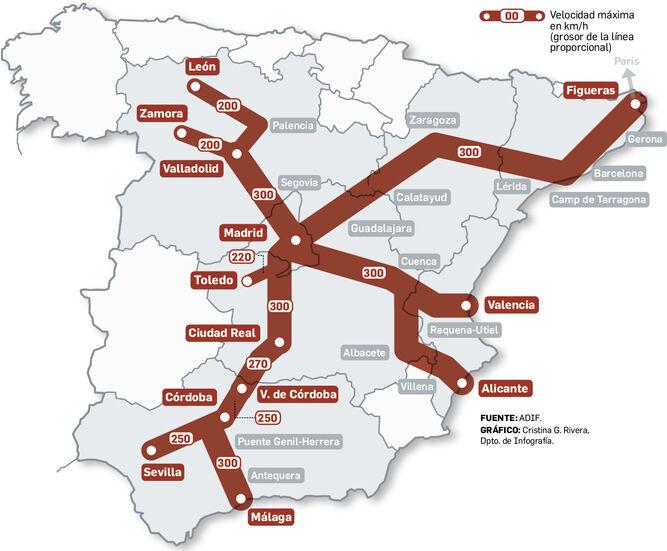 Mapa Ave España 2019.Linea De Alta Velocidad Madrid Sevilla El Ave Vuela Mas