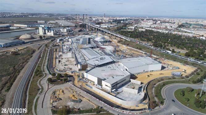 Vista aérea de las obras del centro comercial a 28 de enero de 2019.