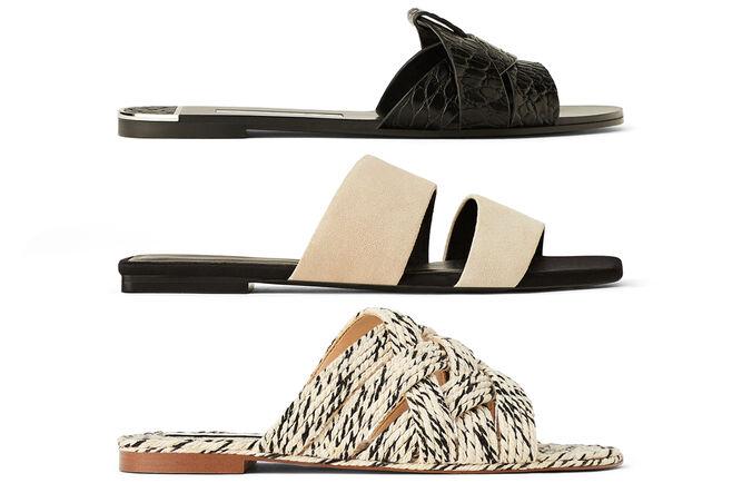 036e9a78 Sandalias planas: de textura animal, minimalismo beige, de yute en beige y  negro. Todas de Zara.