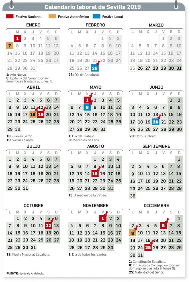 Calendario Laboral 2019 Andalucia.Calendario Laboral De Sevilla 2019 Dias Festivos Semana Santa Y
