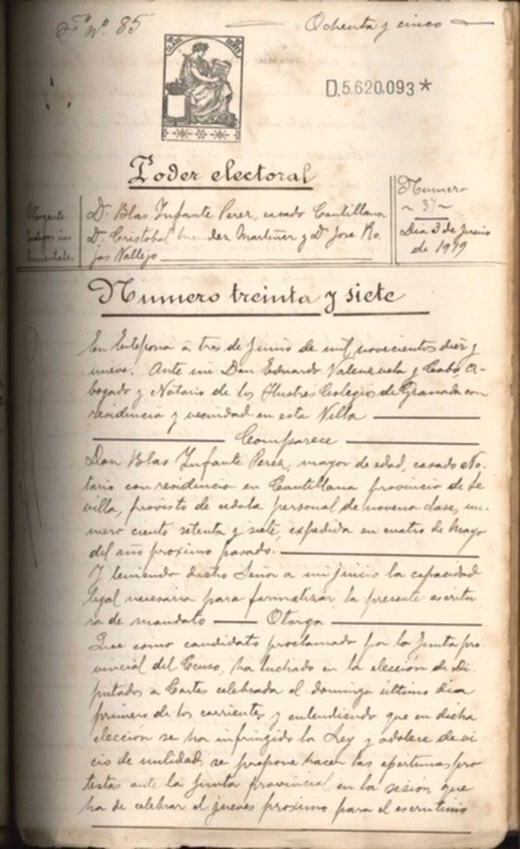 f35296dab4ab El Archivo Provincial da a conocer un nuevo documento con la firma de Blas  Infante