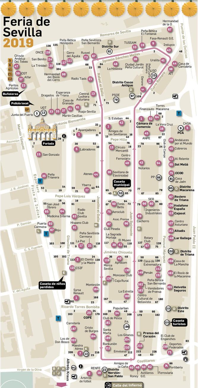c118c1c71 Plano de la Feria de Abril de Sevilla 2019: todas las casetas por calles