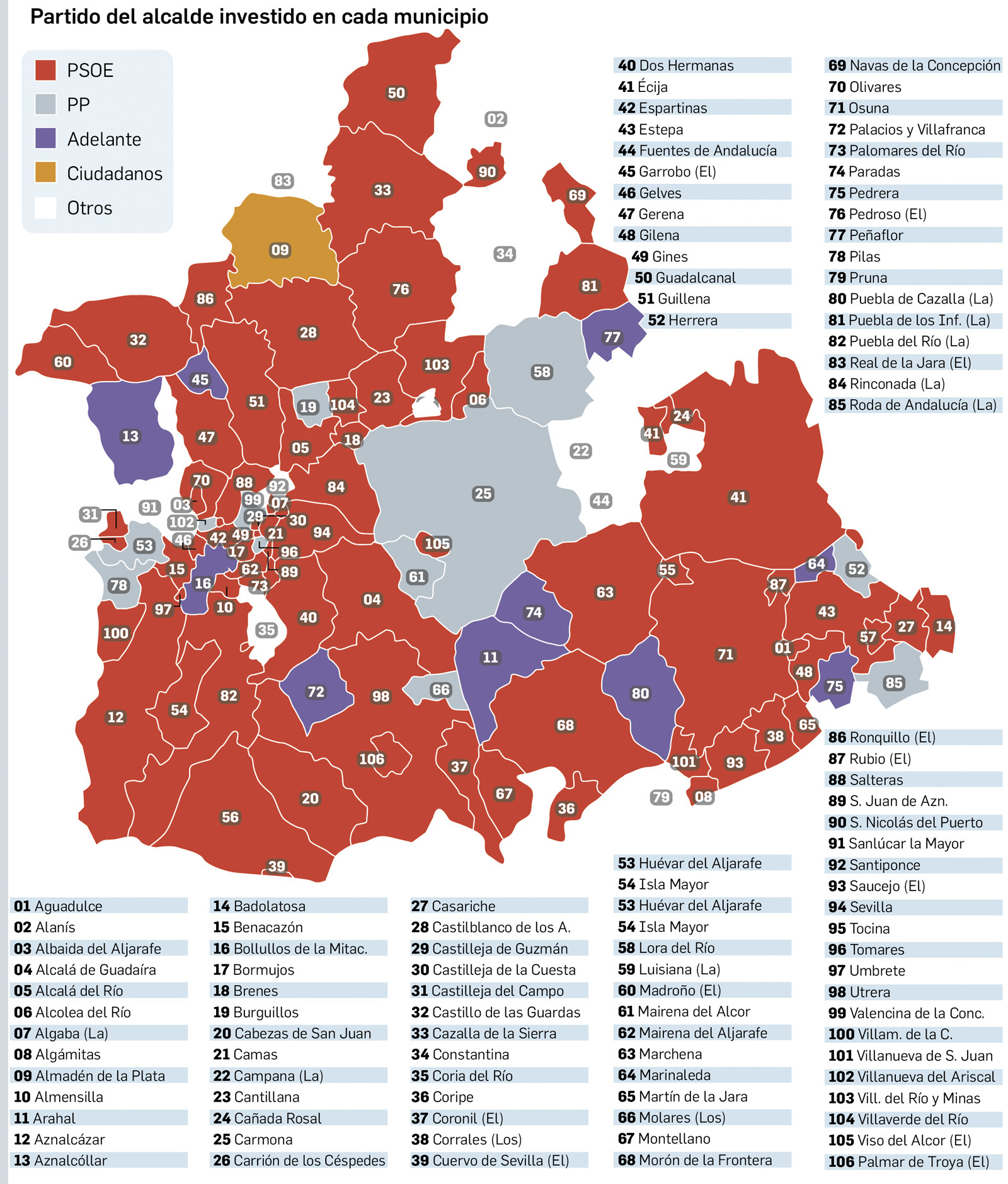 Provincia De Sevilla Mapa.Los Pactos Solo Apartan Al Candidato Mas Votado En La Roda