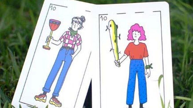 Algunas de las cartas de la baraja de Feminaipes