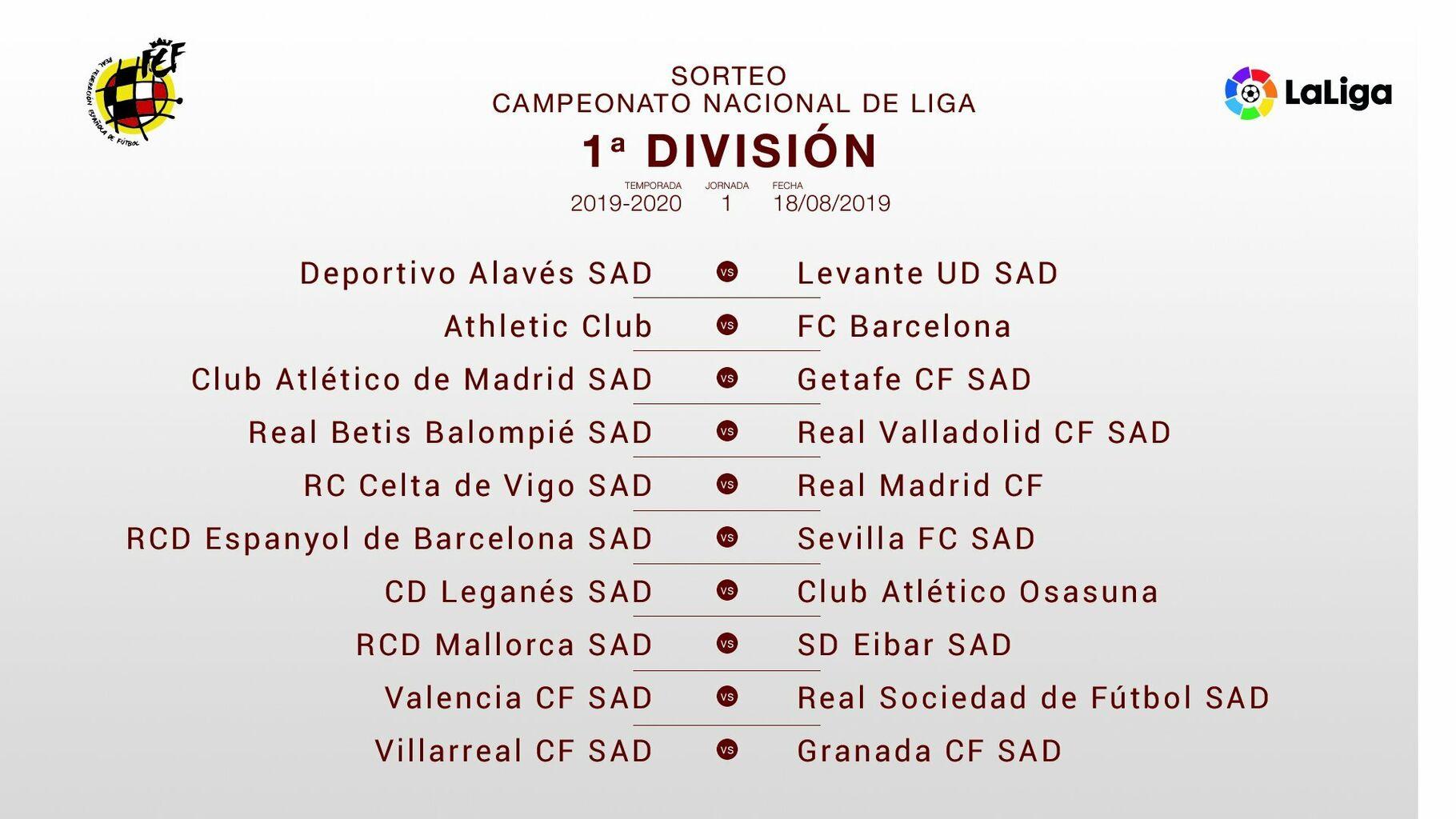Calendario Lfp.Todos Los Partidos De Laliga Santander 2019 2020 Calendario Completo