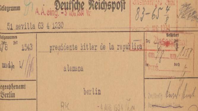 Telegrama enviado a Hitler.