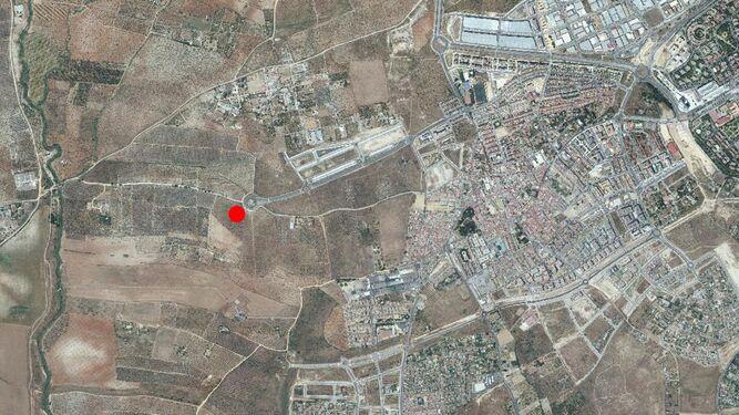 Un plano en el que se señala la ubicación del nuevo cementerio de Mairena, que contará con tanatorio y crematorio.