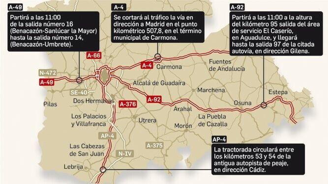 Asi Sera La Gran Tractorada De Sevilla Cortes De Carreteras Y