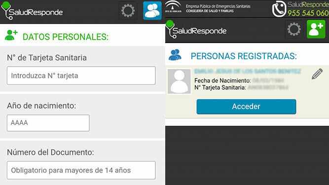 Registration screen and access to the app.