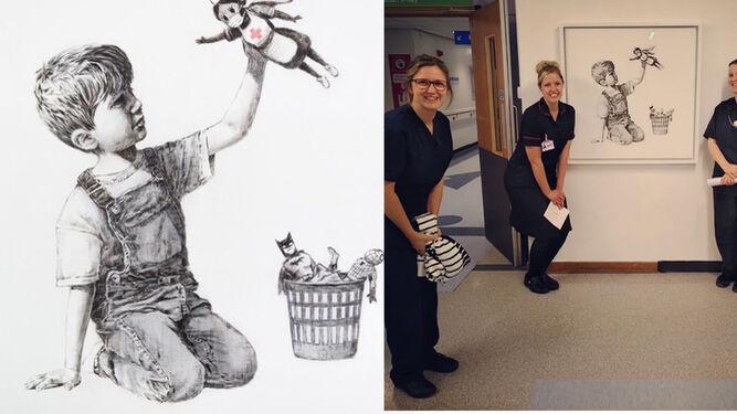 Banksy homenajea a los sanitarios con una nueva obra