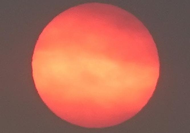 Así pudo verse el Sol en la tarde del jueves.