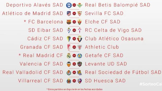 cura Falsificación Destruir  Sorteo del calendario de la temporada 2020/2021 en Primera División Real  Madrid-Getafe y Barça-Elche en la primera jornada de Liga