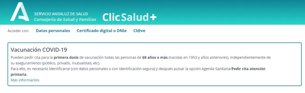 Captura de la web del SAS donde aparece el llamamiento a la vacunación para mayores de 68 años