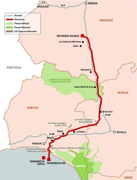 Resultado de imagen de la refinería Balboa el Oleoducto hasta Huelva